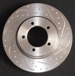 Spot and Groove Pattern added to vented disc - performance brake upgrades from Fosseway Performance